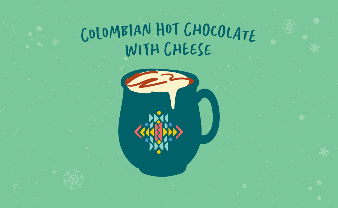 Illustrated graphic of Colombian hot chocolate with Cheese