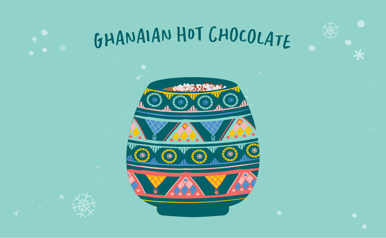 Illustrated graphic of Ghanaian hot chocolate