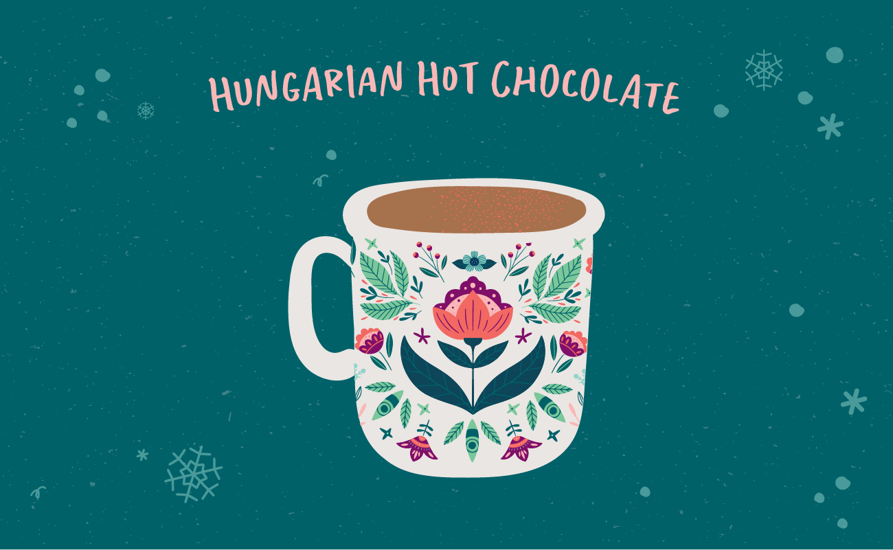 Illustrated graphic of hungarian hot chocolate