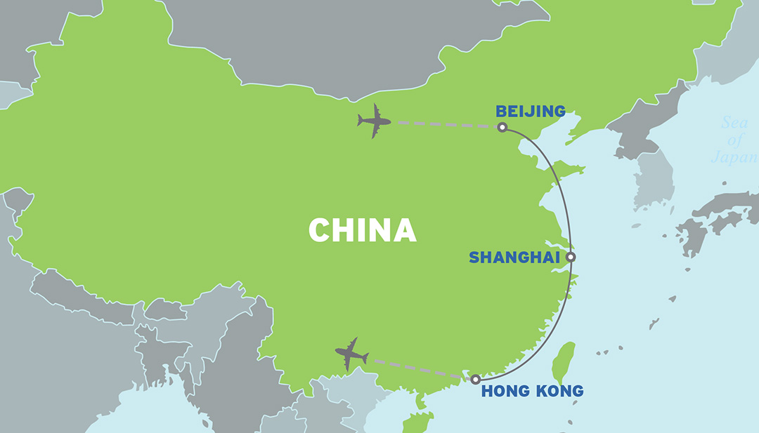 China: Asia Educational Student Trip map