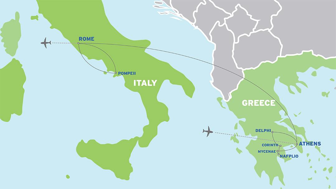 Italy & Greece: European Student Trip map