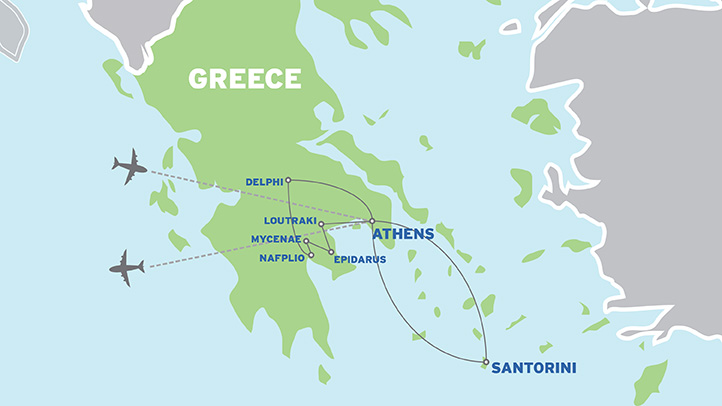 Greece & Santorini: Student Educational Tour map