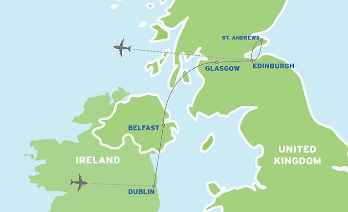 Ireland & Scotland: European Student Trip map