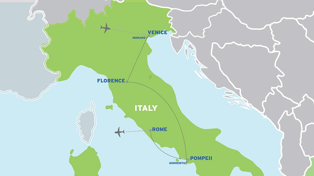Italy: European Student Trip map