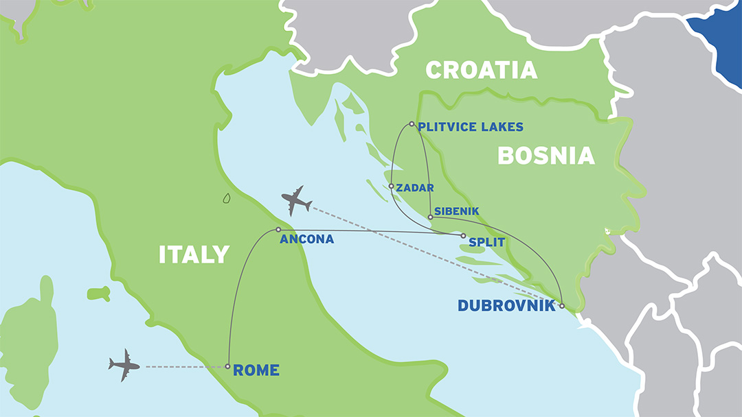 Italy and Croatia: European Student Trip map