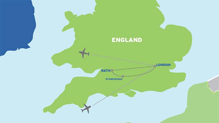London, Bath & Stonehenge: Student Tour map