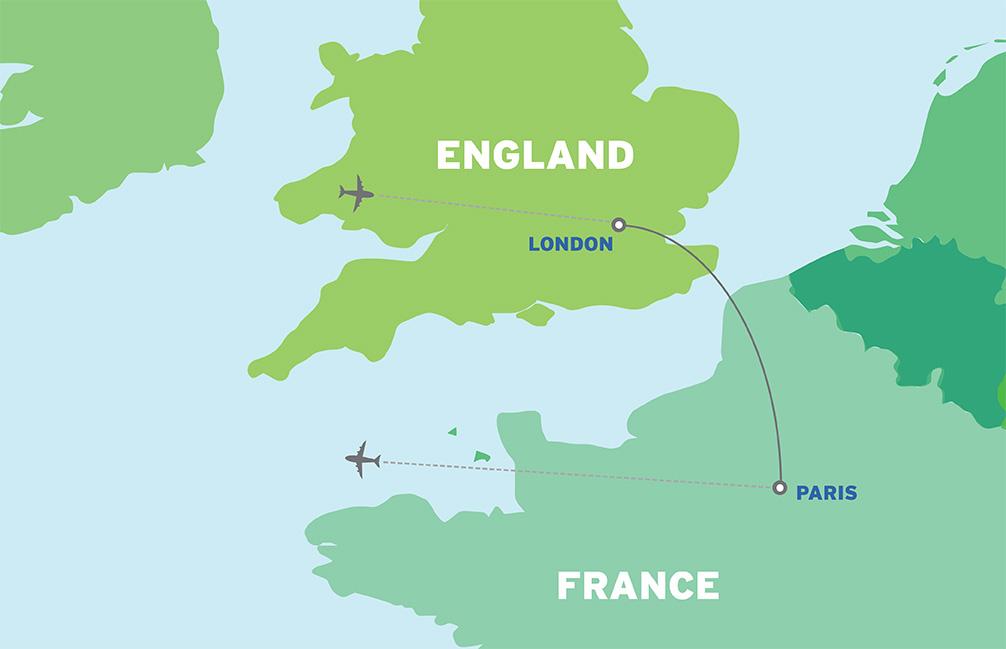 London & Paris: Economical Student Trip map