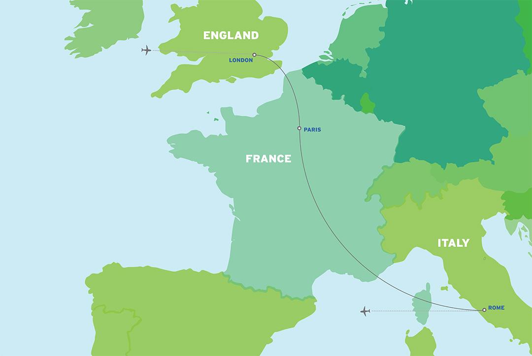 London, Paris & Rome: European Student Tour map