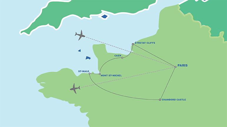 Normandy, Loire & Paris: European Student Tour map