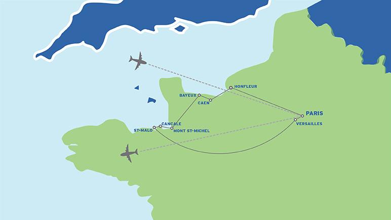 Paris & Normandy: Student Battlefield Trip map