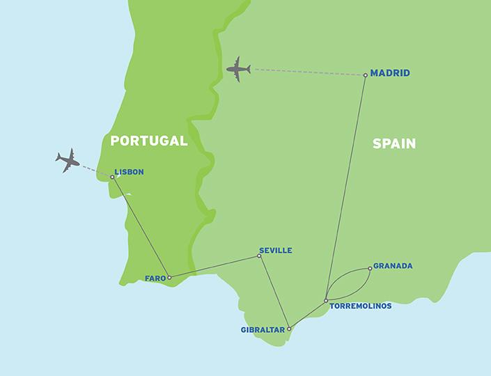 Portugal & Spain: European Student Trip map