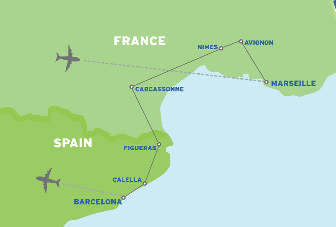 South of France & Barcelona: European Student Trip map