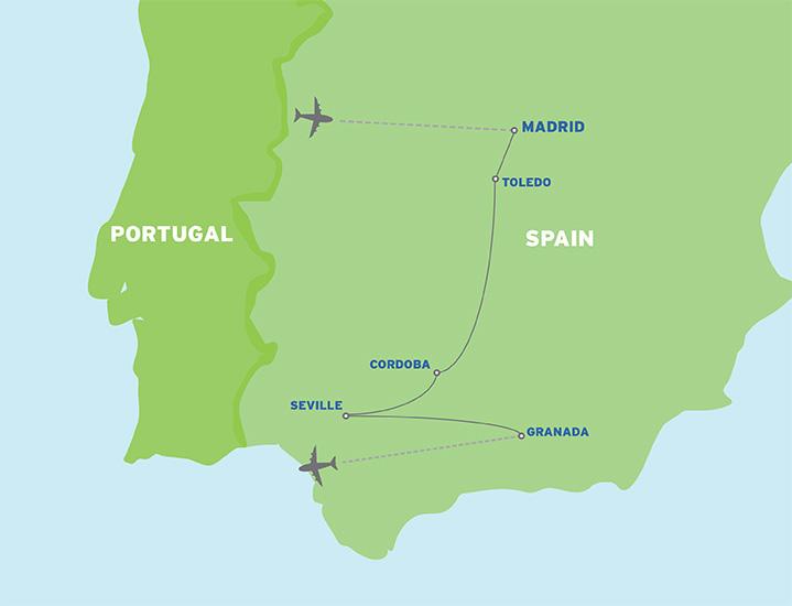 Spain: European Student Trip map