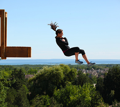 student jumping on the apex bag jump at the Blue Mountain resort in Ontario